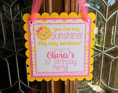 You Are My Sunshine Birthday Party Welcome Door Sign, Pink Sunshine Party, Sunshine Party Decor, Sunshine Door Hanger, Sunshine Door Sign Sunshine Birthday Parties, 2nd Birthday Parties, Kids Birthday Themes, Birthday Favors, Cricut Banner, Cricut Cake, Welcome Door Signs, Party Signs, Party Items