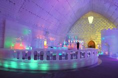 Hotel de Glace, Quebec, Canada. The first (and only) true ice hotel in North America, Hotel de Glace opened in 2001 and has been rebuilt every December since. With a three-month lifespan, the features of this hotel are different each year, but it's famous for its recurring chapel, bar, and grand ice slide.