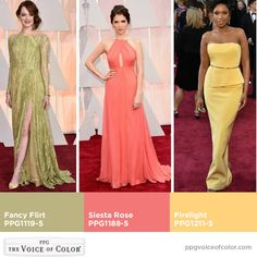 Fresh pastel splashes of color from the Oscars red carpet! What statements did you love from The Academy Awards? Photo via the Washington Post (From left: Jordan Strauss/Invision/AP, Jason Merritt/Getty Images, Mladen Antonov/AFP/Getty Images) Carpet Colors, Red Carpet, Pastel Paint Colors, Trending Paint Colors, Interior Color Schemes, Oscar Fashion, Fashion Colours, Decoration, Color Trends