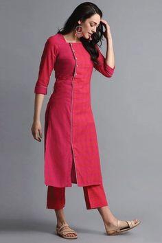 Kurti Neck Designs– 23 Latest Neck Styles for Kurtis In 2020 Kurti Sleeves Design, Kurta Neck Design, Sleeves Designs For Dresses, Dress Neck Designs, Stylish Dress Designs, Neck Designs For Suits, Tunic Designs, Salwar Designs, Kurta Designs Women