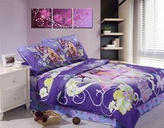 Dreaming  barbie Quilt Cover Children Girls Duvet 3pcs Bedding Sets purple