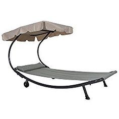 Abba Patio Outdoor Portable Chaise Lounge Chair Hammock Bed with Sun Shade and Wheels
