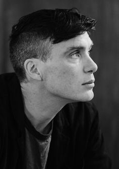Cillian Murphy, black and white.