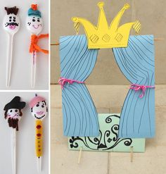 Thanks, Crafty Jewish Mom, for this amazing Spoon Puppet Theater craft idea! The possibilities are endless. Customize your spoon people with yarn, felt, markers, googly eyes, and more. You can also jazz up your theater with crayons, stickers, or gems.