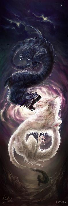 I think this is a wolf dragon :) Black Dragon White Dragon Fantasy Myth Mythical Mystical Legend Dragons Wings Sword Sorcery Art Magic