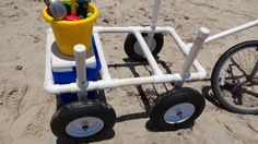 DIY beach cart. It's lite weight, won't rust, and can easily be taken apart for storage in the RV. Gotta make me one of these!