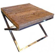 Reclaimed Railway Sleeper Wood Side / End / Lamp Table
