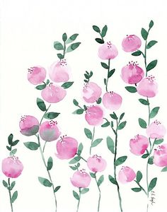 Pink Watercolor Flowers original watercolor painting fuschia