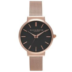 Olivia Burton OB15TH08B The Hackney Black Dial & Rose Gold Mesh Women's Watch..Price: €125.00