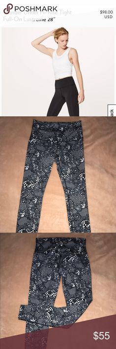 Wunder Under Hi-Rise Tight Full on Luxtreme **not the plain black shown in cover** Originally purchased at Lulu for $98. Worn only handful of times. Nice black and white flower design!! SIZE 10 LULU DOES NOT SELL THESE ANYMORE: RARE PRINT. lululemon athletica Pants Leggings