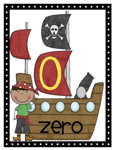 Pirate themed numbers from 0-20 that can be displayed in your classroom.  Each card is 8 1/2x11 and has the numeral and number word printed on it....