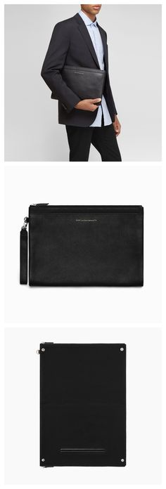 WANT Les Essentiels Barajas double-zip folio Black Leather Backpack, Black Tote Bag, Minimalist Bag, Mens Essentials, Men's Backpack, Branded Bags, Black Handbags, Laptop Bag, Zip