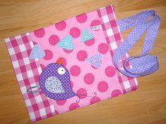 Einkausbeutel Vogel und Herzen ♥  Ein allerliebster Shoppingbeutel für Mädchen♥  Innenstoff rosa pink gepunktet und Innentasche mit Schlaufe fü...
