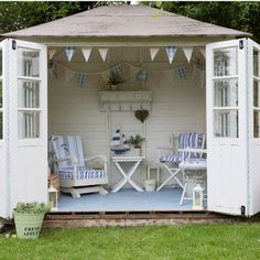 Make a shed a pool cabana.This little cabana-like house is the perfect backyard escape. You could even makeover an existing shed or free-standing garage into your own haven. Outdoor Office, Outdoor Rooms, Outdoor Living, Outdoor Decor, Indoor Outdoor, Outdoor Sheds, Backyard Office, Outdoor Seating, Summer House Garden