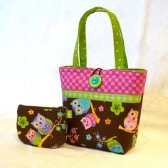 Little Girls Purse Sweet Euro OWLS Mini Tote Bag and Coin Purse Set Handmade Brown Pink Lime MTO