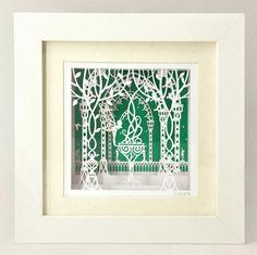 Home decor paper cut gift shadow box frame laser cut fairy in the gard – DokkiDesign