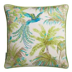 A bird with fabulous plumage swoops between palm fronds on this printed cushion. Exotic birds have become a signature for Matthew Williamson. This striking cushion will be a highlight to any room and complements the matching Bird of Paradise wallpaper. Tropical Birds, Exotic Birds, Paradise Wallpaper, Cream Cushions, Osborne And Little, Vert Turquoise, Blue Highlights, Pink Bird, Matthew Williamson