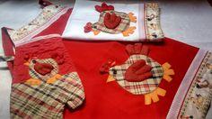 Kit cozinha 3 peças, avental, pano de copa e luva <br>Obs. Tecido estampado pode ter variação sem sair do tema original
