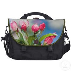 Gorgeous crabapple tree unopened pink and white blossoms or buds laptop bag.  Great floral gift for a nature lover.