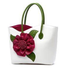 Women PU Leather Flower Decoration Elegant Handbag Sling Bag National Style Tote Bag