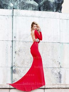 Bateau Prom Dresses Neck Long Sleeves With Rhinestone Beading Red Backless Formal Mermaid Evening Gown TE 92271