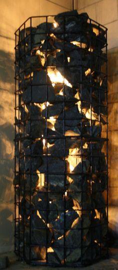 Gabion basket with light. Inspiration for entry foyer/ filtered light