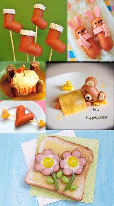 La gastronomía y el placer de comer hay que cultivarlo en los niños desde que son pequeños, y nunca olvidarse de una forma divertida. Salchichas, ÑAM ÑAM!