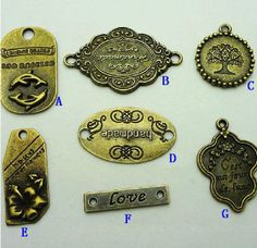 7 different types of  antique brass pendant by AccessoriesforDIY, $2.50