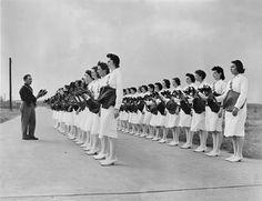 Navy nurses having a gas mask drill, WW2 ~