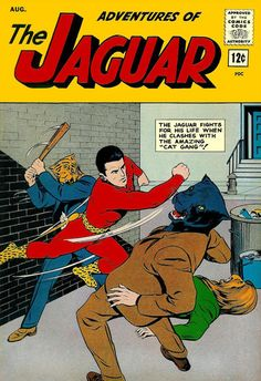"""Adventures of the Jaguar #13 - Archie Adventure Series- """"Birth of the Cat Gang"""" A group of cat burglars don cat masks and become The Cat Gang.Story is continued in the next sequence. - """"Jaguar versus the Cat Gang"""" Jaguar suspects Cat Girl of being the brains behind the Cat Gang. She plans  to capture the would-be cat burglars.- """"The Menace of the Winged Bull"""" - The Jaguar journeys to Iran to investigate a band of marauding Black Knights using a winged bull to rob the townsfolk."""