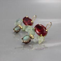 Labradorite and Ruby Zircon Butterfly Earrings