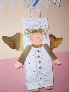 Anděl - ze sáčku Christmas Paper, Christmas Angels, All Things Christmas, Christmas Themes, Kids Christmas, Handmade Christmas, Christmas Crafts, Christmas Ornaments, Holiday Program