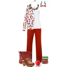 """""""Cherries"""" by maggie-johnston on Polyvore"""