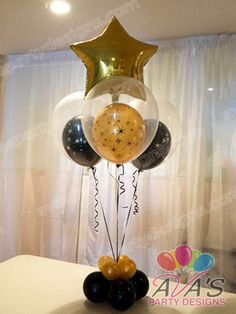 Gold and Black double bubble with star foil balloon centerpiece #partywithballoons