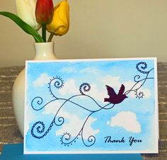"""Blank Note Card - """"Thank You Bird"""" - Elegant Thank You Note - Pen and Ink Bird and Vines - Blue Watercolor - Light and Airy - Thanks - 5 x 7 by CreateThriveGrow on Etsy"""