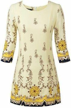 Gentle Long Sleeves Dress Short Apricot Round Neck Vintage Floral Print Dress