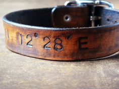 Latitude and Longitude Leather Cuff with Adjustable by Cjohannesen, $27.00. I love this idea. Whether the location is home or a favorite memory/place. I love it.