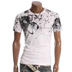 Doublju Mens Scribble Crew neck T-shirts Tee(CF12)