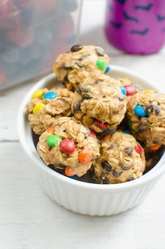 No-Bake Trail Mix Energy Bites - filled with raisins, peanuts, chocolate chips, and M&MS!