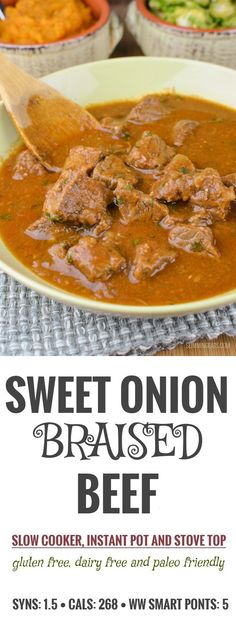limming Eats Slow Cooked Sweet Onion Braised Beef - gluten free, dairy free, paleo, Instant Pot, Slimming World and Weight Watchers friendly