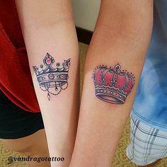 Matching crown tattoos by Van Drago