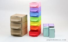 Rainbow Origami Pull out Drawers: 12 DIY Rainbow Crafts To Make You Smile. It's Super Fun and Creative DIY Projects With Rainbows Ever! Rainbow Origami, Rainbow Crafts, Origami Stars, Origami Flowers, Paper Crafts Origami, Diy Origami, Oragami, Origami Boxes, Origami Things