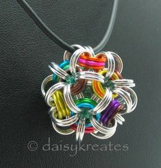 Japanese Dodecahedron Necklace with colorful chainmaille Temari pendant