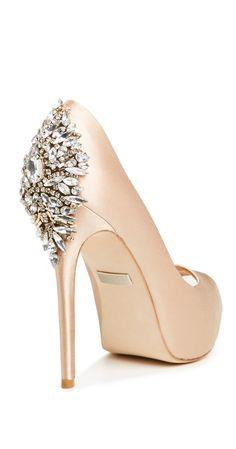 Bejeweled nude heels