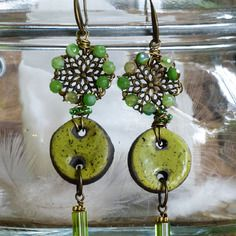 Orecchini gipsy lunghi verdi