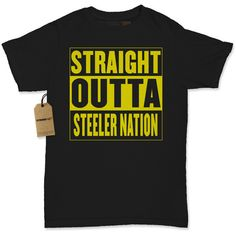 Women's Straight Outta Steeler Nation Shirt Printed Football T-Shirt... ($11) ❤ liked on Polyvore featuring tops, t-shirts, black, women's clothing, long sleeve crew neck tee, long sleeve crew neck shirts, black long sleeve shirt, crew neck t shirt and bleach shirt