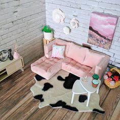 Room Ideas Bedroom, Bedroom Decor, Sofa Lounge, Modern Dollhouse Furniture, Deco Studio, Pink Sofa, Pink Velvet Couch, Pastel Room, L Shaped Sofa
