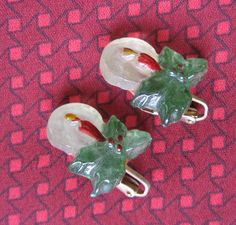 Lucite Christmas Candle Earrings Clip On Red Green Vintage 1940s 1950s, via Etsy.