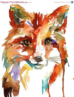 Print of Original Whats the Fox Say? by Jessica Buhman    8 x 10 print of an original watercolor painting on a heavy, bright white card stock.