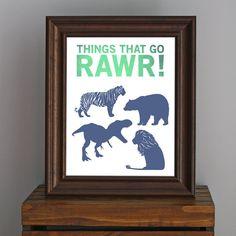 Things That Go Rawr - Animal Art Print - dinosaur, bear, tiger, lion silhouettes - masculine decor, boy room, nursery - green, blue - 8 x 10 on Etsy, $17.75